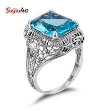 Szjinao flor patrón turco joyas 925 Anillos para las mujeres aguamarina moda retro solitario anillo de compromiso