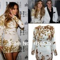 Free Shipping Gold Beaded Long Sleeve Sheath Mini Vestidos Jennifer Lopez Red Carpet Celebrity Dresses