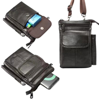 Genuine Cow Leather Hook Loop Clip Shoulder Belt Mobile Phone Case For Xiaomi Black Shark Mi