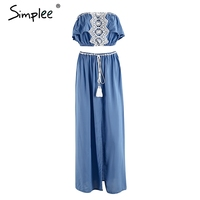 Simplee Casual Appliques Tassle Summer Dress Suit Women Strapless Crop Top And Skirt Set 2017 Beach