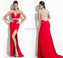 2014 neue Ankunfts-hülle Bördelte Bloße Lange Elegante Rote Abendkleider Lange Abendkleider Mit Kristallen Vestido de Formatura