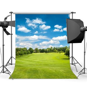 Image 1 - Spring Backdrop Jungle Forest Blue Sky White Cloud Green Grass Meadow Outdoor Wedding Ceremony Photography Background