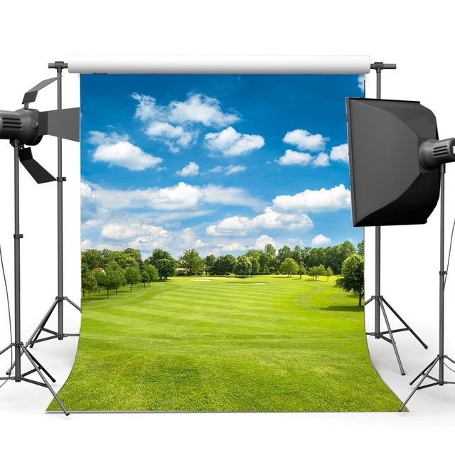Spring Backdrop Jungle Forest Blue Sky White Cloud Green Grass Meadow Outdoor Wedding Ceremony Photography Background