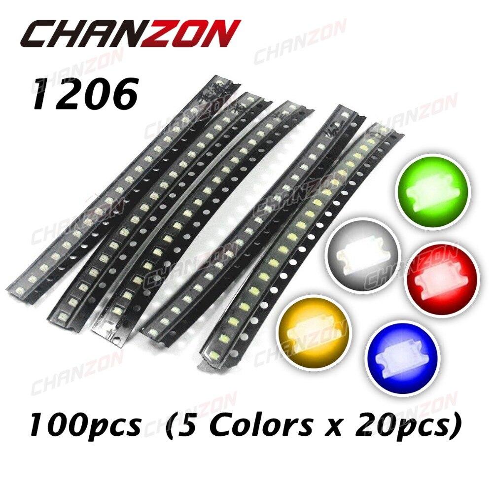 100pcs LED Kit 1206 (3216) SMD Red Blue Green White Yellow LED Set Light Emitting Diode Lamp Package SMT Light-Emitting 20mA(China)