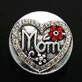 New KZ2099 Beauty Pattern Rhinestone Heart Mom 18mm charm snap buttons fit DIY charm snaps jewelry  wholesale