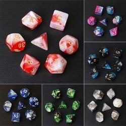 Acryl Polyhedral Würfel Für TRPG Brettspiel Dungeons Und Drachen D20 D12 D10 D10 % D8 D6 D4 7 teile/satz