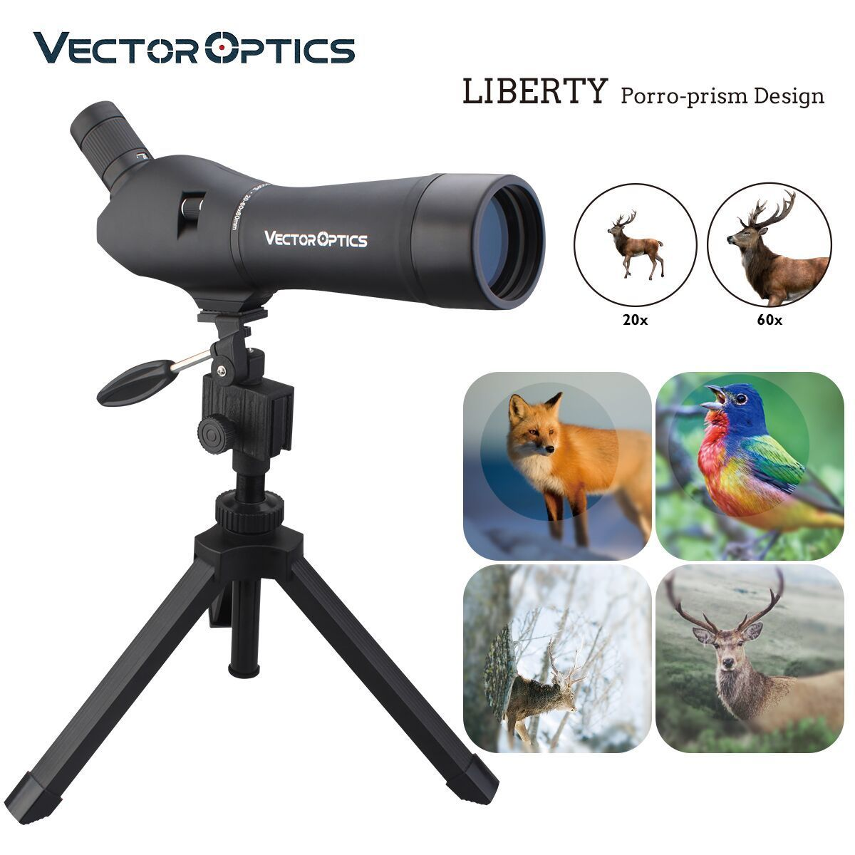 Vector Optics Liberty 20 60x60 Hunting Telescope Spotting Scope