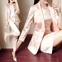 Business Women Pencil Pant Suits 2 Piece Sets Pink Solid Blazer + Pencil Pant Office Lady Notched Jacket Female Outfits