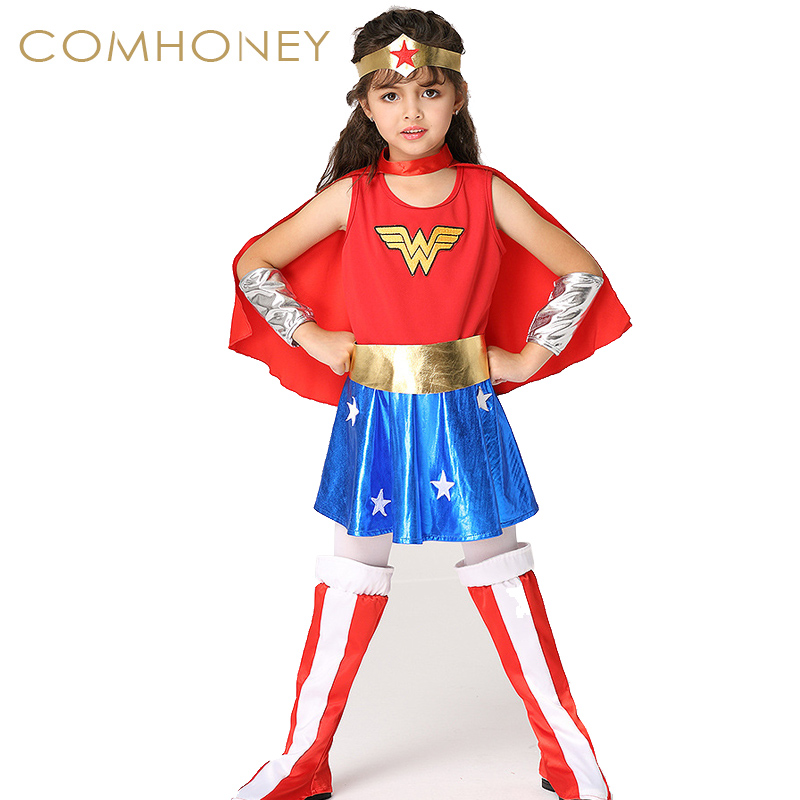 Wonder Woman Dress For Kids Cosplay Halloween Costumes -6416