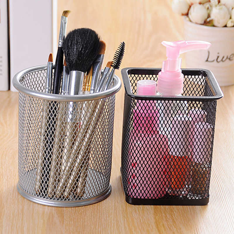 WCIC Round Square Metal Pen Holder Brush Pot Hollow Pattern Storage Pencil Holder Container Birthday Gift Desk Makeup Organizer