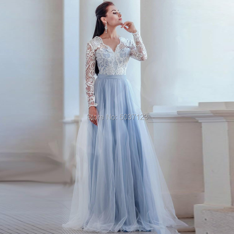 Light Blue Wedding Dresses Long Sleeves V Neck A Line Vestido De Novias Longo Lace Appliques Floor Length Bridal Wedding Gown