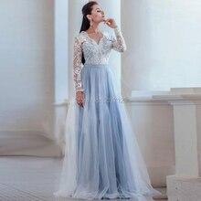 Luz Azul Vestidos De Casamento Mangas Compridas Decote Em V UMA Linha Vestido De Novias Longo Lace Apliques Chão vestido de Casamento Nupcial vestido