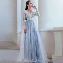 ضوء الأزرق الزفاف فساتين طويلة الأكمام V الرقبة خط Vestido دي Novias لونغو الدانتيل يزين الطابق طول الزفاف ثوب زفاف