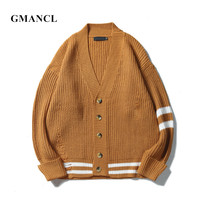 GMANCL Autumn New Men  39 s High street Hip Hop Casual Sweatercoat Oversized  Male High quality Solid color Loose Cardigan Sweaters c9f1c94ab