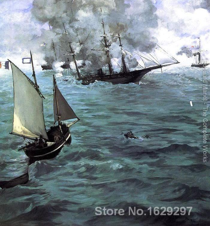 modern colorful paintings Battle of the Kearsarge and the Alabama by Edouard Manet High Quality Hand paintedmodern colorful paintings Battle of the Kearsarge and the Alabama by Edouard Manet High Quality Hand painted