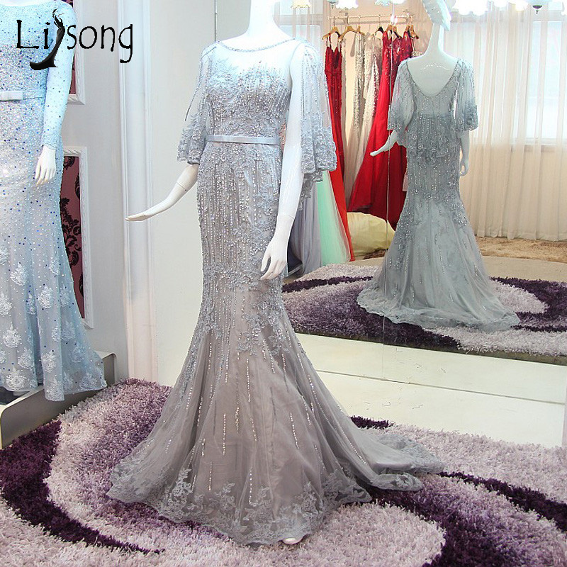 Abendkleider High End Gray Mermaid Long Evening Dresses Appliques Lace Beaded Evening Gowns With Puffy Sleeve Vintage Abiye