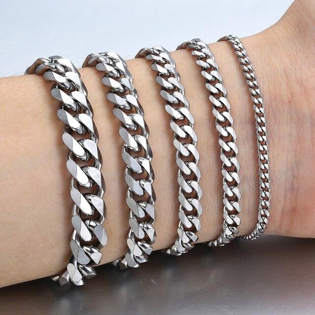 """3-11 мм Мужские браслеты серебряный браслет из нержавеющей стали кубинские звенья цепи браслеты для мужчин и женщин оптом ювелирные изделия подарок 7-10 """"KBM03"""