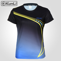 Kunli short sleeved tennis shirt women outdoor sports badminton clothing running clothing T shirt basketball Volleyball shirt