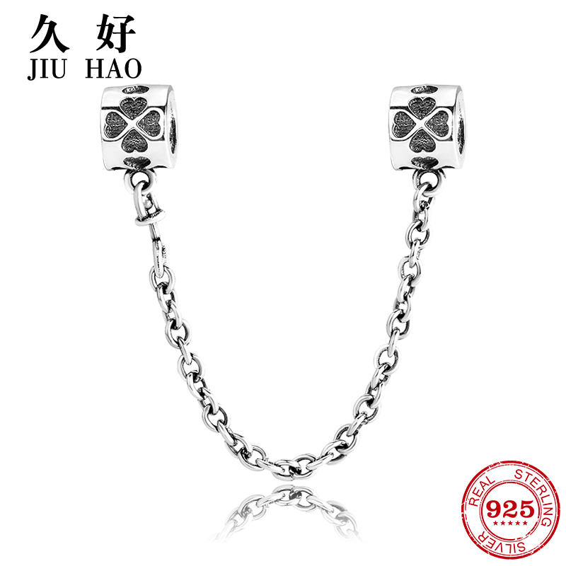 Real 925 Sterling Silver Bead Four Leaf Clover Safety Chain Charm diy Fit Original Pandora Charms Bracelet Fashion Jewelry real 925 sterling silver charm flower safety chain beads diy for fashion fit original pandora charms bracelet jewelry making