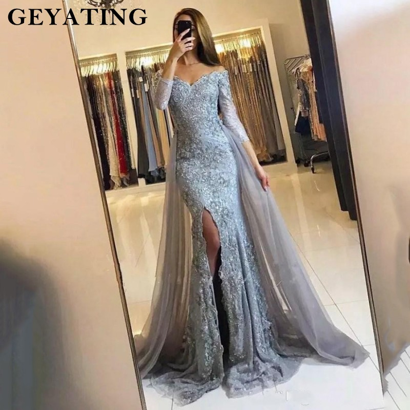 Image 2 - Black Lace Mermaid Evening Dress 2019 Sweetheart Off Shoulder Side Split Prom Dresses 3/4 Sleeves Muslim Long Evening Gowns-in Evening Dresses from Weddings & Events