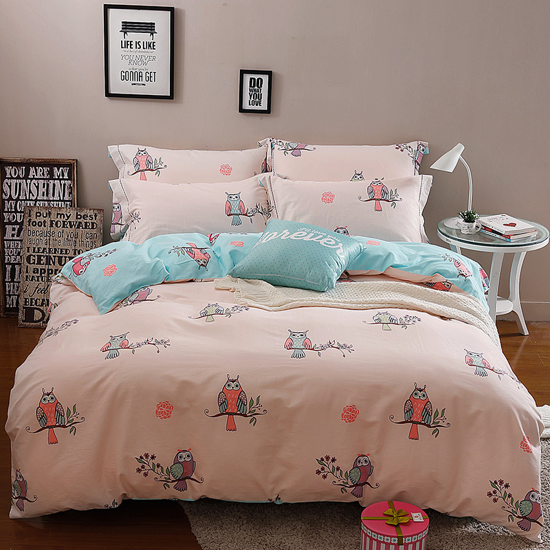 100 cotton simple bedding set owl bed duvet cover linens 4 for Minimalist bed sheets