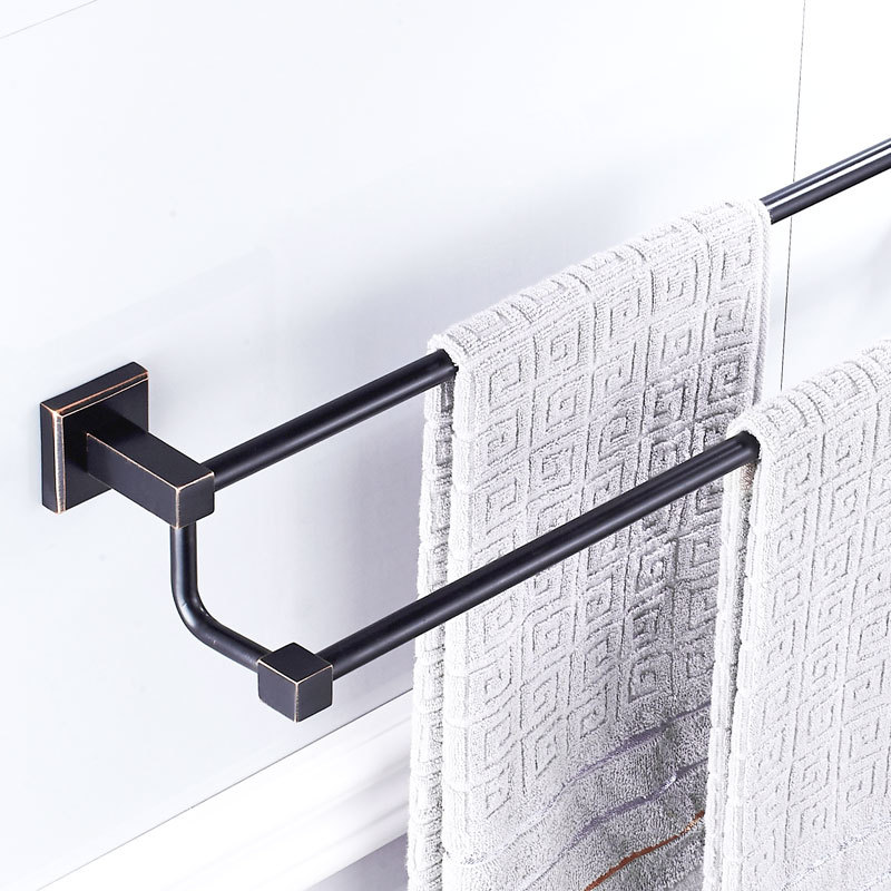 AUSWIND Black Double Towel Bar Oil Rubbed Solid Brass Square Base Towel Rack Bathroom Accessories WR54 auswind black double towel bar oil rubbed solid brass square base towel rack bathroom accessories wr54