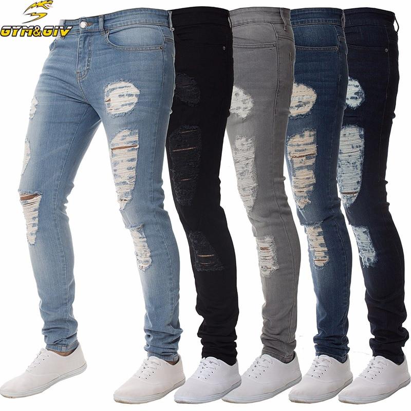 Hombres de moda Jogger Jeans Stretch Hip Hop Joggers Denim Jeans para - Ropa de hombre