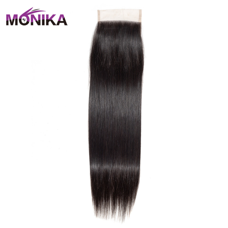 Monika Hair Straight Brazilian Human Hair Lace Closure 4x4 Free/Middle/Three Part Swiss Lace Closure Natural Color
