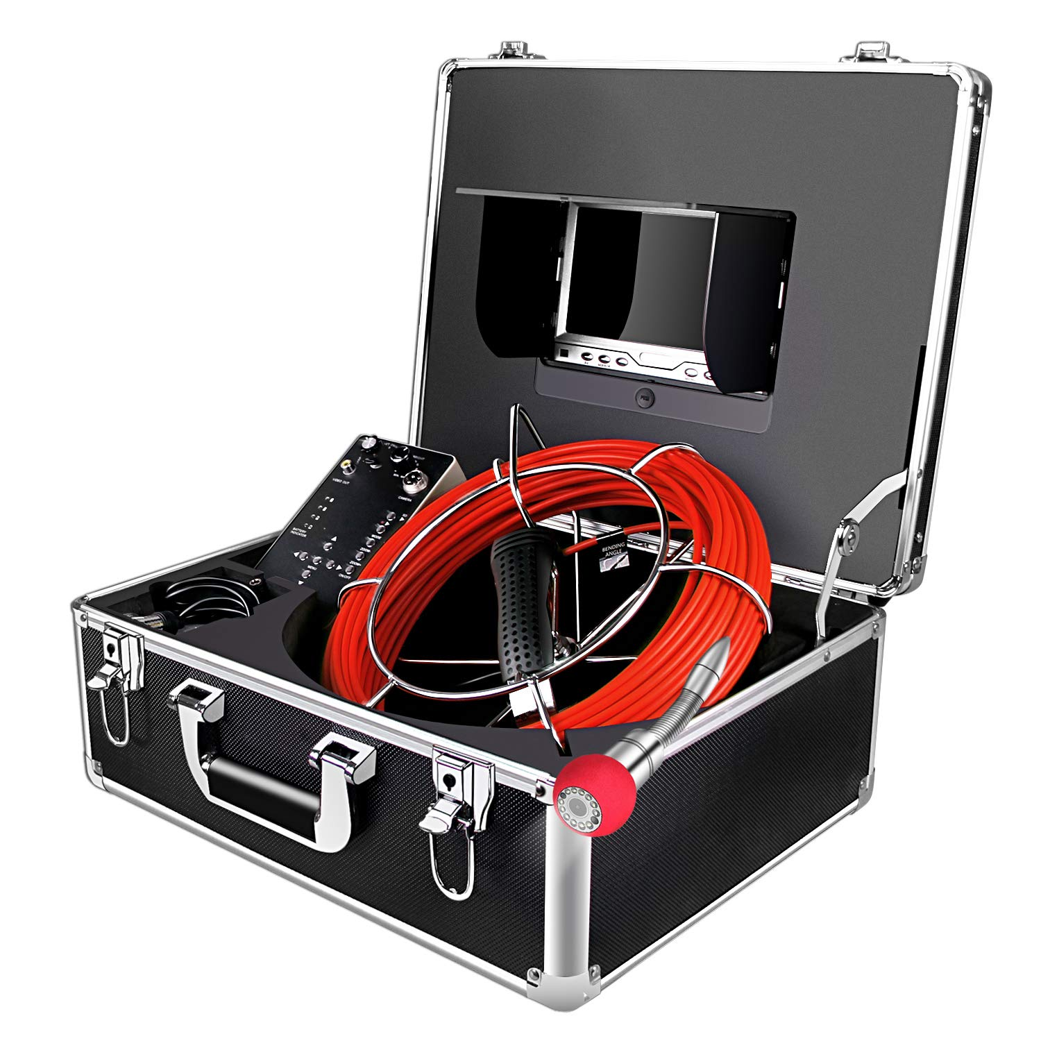 Borescope Camera 100ft Snake Cam with Distance Counter DVR Video Sewer Pipe Inspection Equipment 7 inch LCD Monitor Duct HVAC image