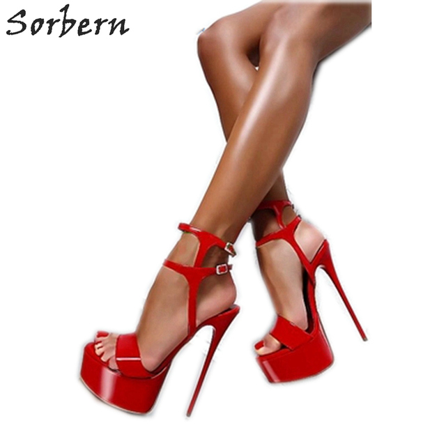 Sorbern Sexy Stiletto Sandals Extrem High Heels Summer Shoes Women Size 44 High Heels Night Club Footwear Evening Party Shoes