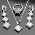 Square White AAA Cubbic Zirconia Silver Color Jewelry Sets Necklace/Pendant/Long Earrings/Rings For Women Free Gift Box