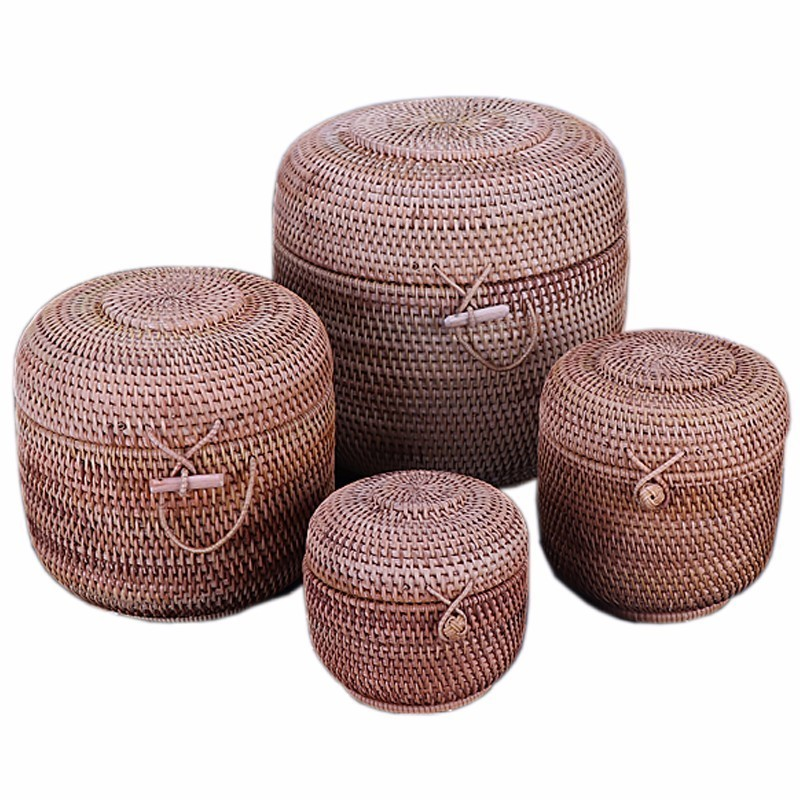Rattan Weave Storage Gift Wooden Box Handmade Organizer Kitchen Breathable Cans For Bulk Products Banks Jars