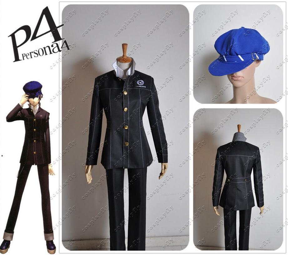 Persona 4 Yasogami High Boys Uniform Top Jacket Shirt Pants Men Fashion Outfit Cosplay Costume Custom Made with Blue Hat