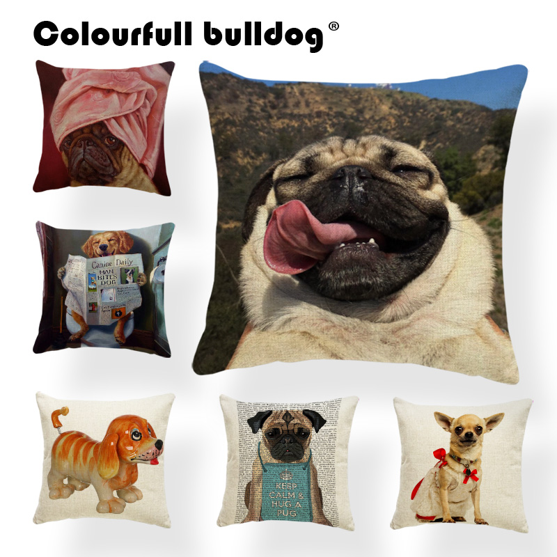 Cuteness French Bulldog Chihuahua Dachshund 43*43cm Cushion Cover Golden Retriever Tennis Newspaper Pillowcase Decor Living Room
