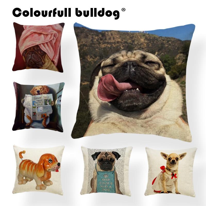 Cuteness French Bulldog Chihuahua Dachshund 43*43cm Cushion Cover Golden Retriever Tennis Newspaper Pillowcase Decor Living Room ...