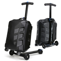 21 inch Fashion Scooter Rolling Luggage ABS Trunk Suitcase Men Travel Bag Boarding Bag Aluminum alloy Rod Trolley Student Card
