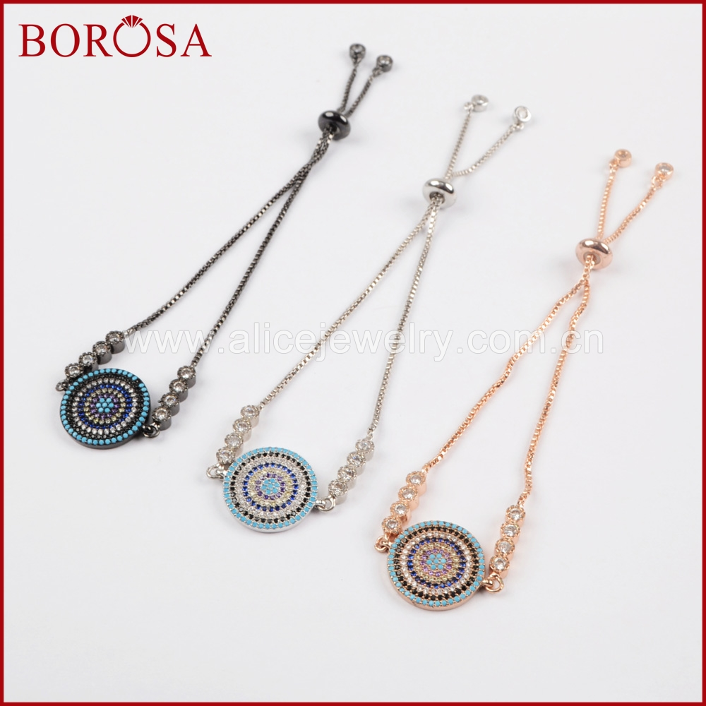 BOROSA 5PCS Fashion CZ Tiny Stone Spacer Pave Rainbow Cubic Zirconia Round Connector Box Chain Drusy