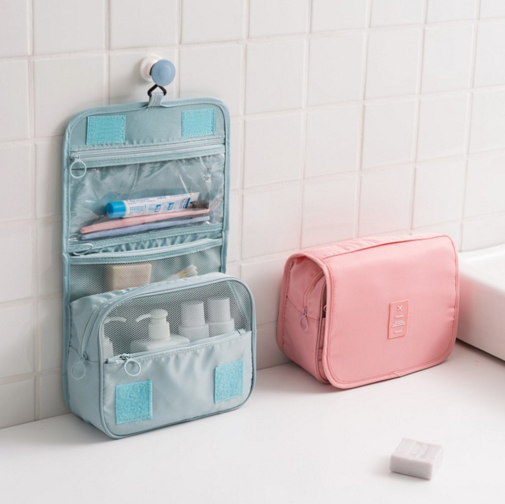Large Wash Bags Water Proof Resistant Cute Practical Makeup Case Pack Hanging Travel Train Flight Bags Cube Type Pink Cosmetics