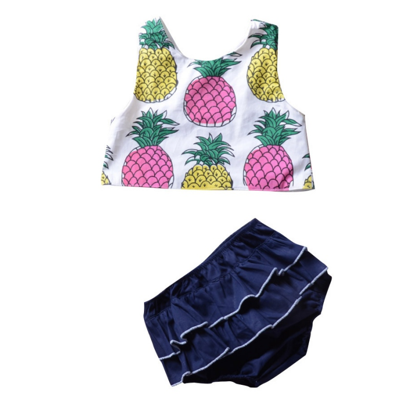 2018 Summer Hot Sale Baby Girls Cute Clothes Set Infant Kids Pineapple Printed Vest Top+Shorts Two Sets Newly Fashion Clothing