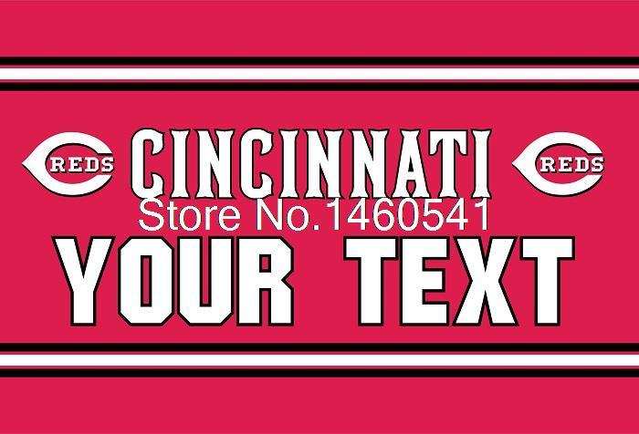 Cincinnati Reds Custom Your Text Flag 3ft X 5ft Polyester MLB Team Banner Flying Size No.4 144* 96cm Custom Flag Super Fan