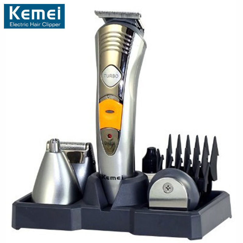 все цены на Kemei KM-580A Men's Electric Shaver Razor 7 In 1 Male Shaver Machine Nose Ear Hair Trimmer Electric Clipper Rechargeable EU Plug онлайн