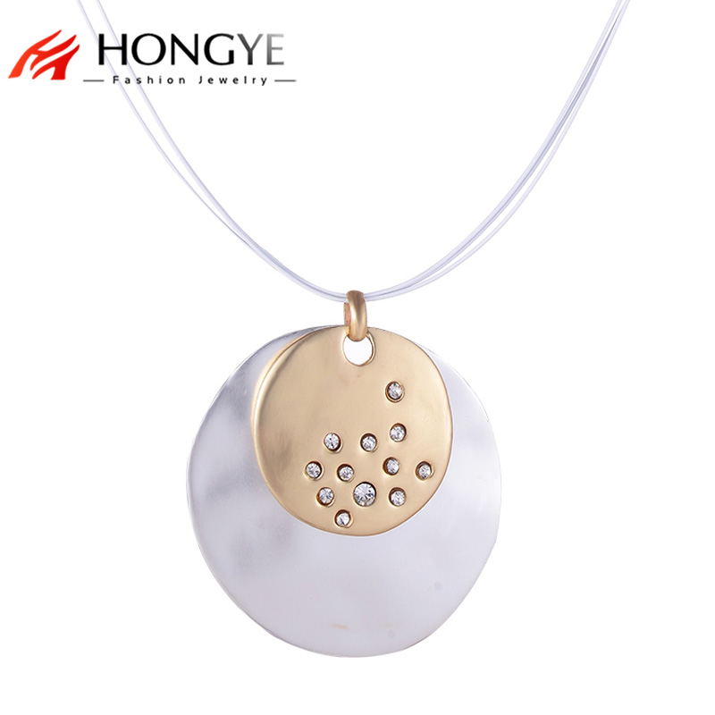 New 2018 Bijoux Fashion Romantic Crystal Necklaces For Women Moon Round Silver Color Enamel Statement Necklaces Vintage Jewelry