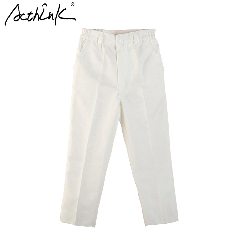 ActhInK New Boys White Spring Solid Suit Pant Brand Kids England Style Formal Wedding Pants for Boys Black Suit Trousers, MC019