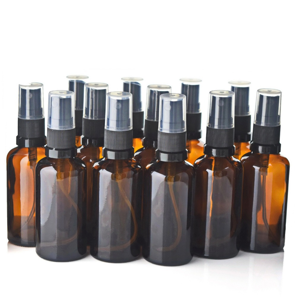 12pcs 50ml Refillable Amber Glass Spray Bottle Atomizer Containers W/ Fine Msit Sprayer For Perfume Essential Oils Aromatherapy