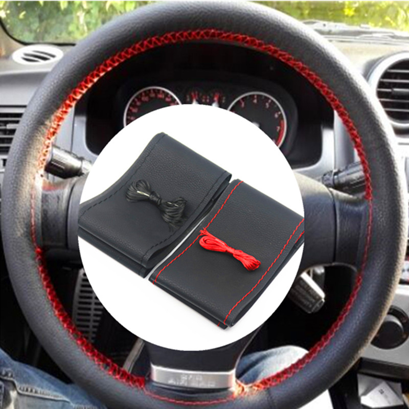 37cm/38CM DIY Steering Wheel Covers soft Leather braid on the steering-wheel of Car With Needle and Thread Interior accessories diy steering wheel cover for peugeot 508 extremely soft leather braid on the steering wheel of car interior accessories