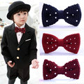 Retail new knitted children's bowtie/white Embroidered dot wine red bow tie/fashion tide treasure garment accessories