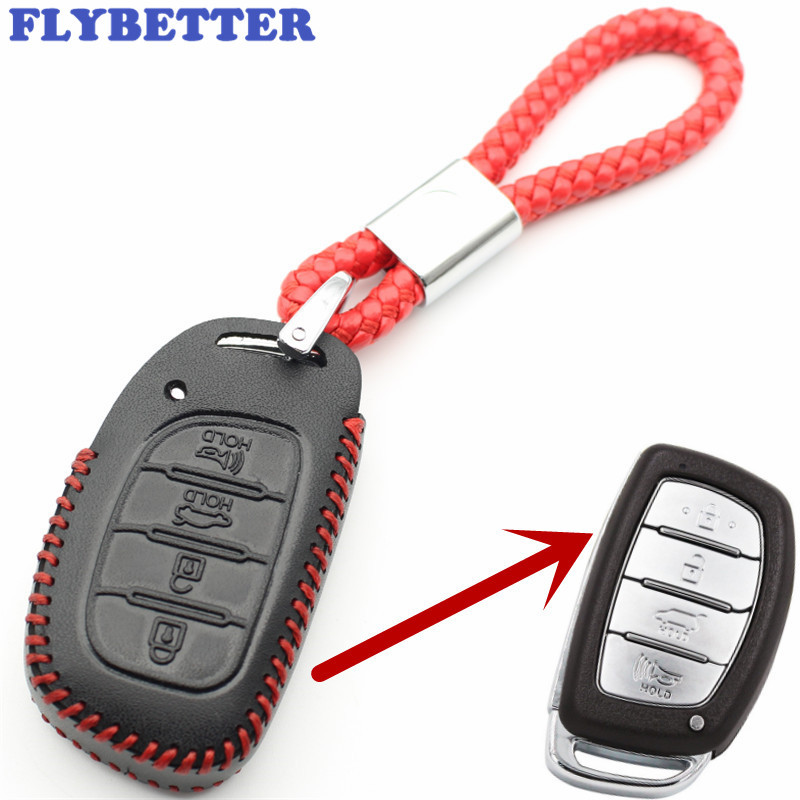 FLYBETTER Genuine Leather 4Button Keyless Entry Smart Key Case Cover For Hyundai IX25/IX35/Elantra/Sonata/I40 L109 flybetter genuine leather 4button keyless entry smart key case cover for kia sorento rio rio5 optima car styling l71