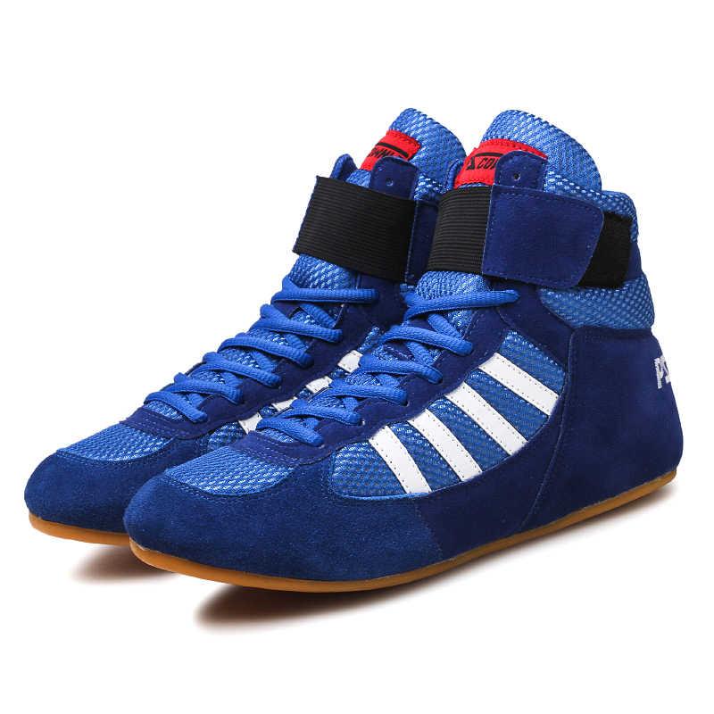فيريساين المصارعة للرجال التدريب أصيلة الأحذية وتر في نهاية الجلود أحذية رياضية المهنية الملاكمة