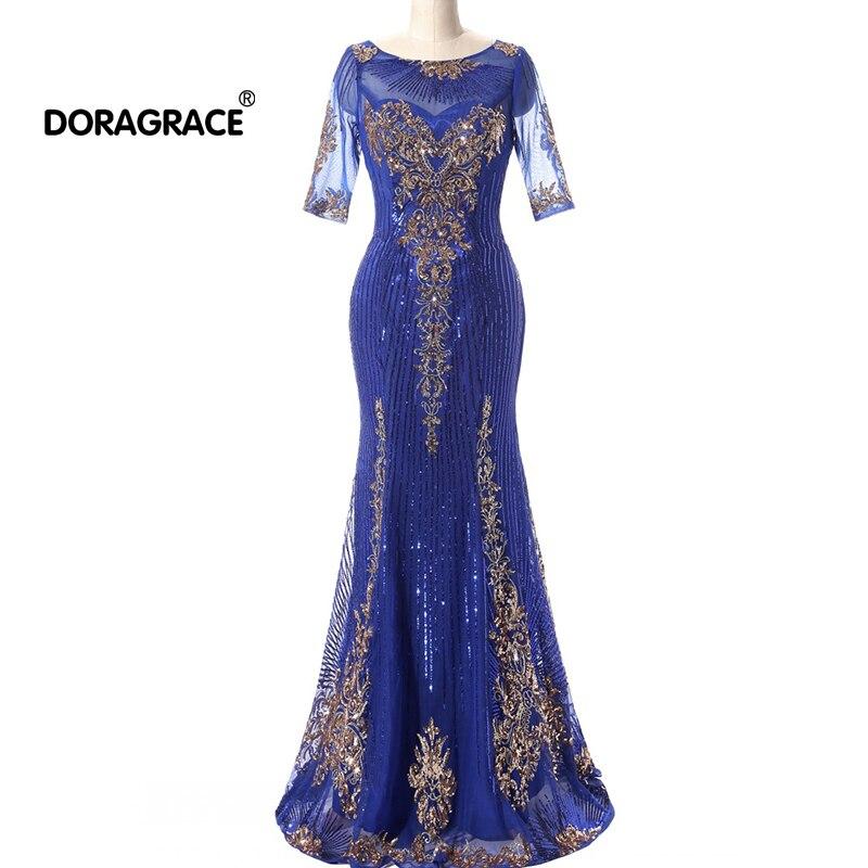 Doragrace magnifique manches courtes paillettes broderie robe de soirée formelle sirène robes de bal