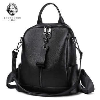 LAORENTOU Brand Genuine Leather Female Original Travel School Bag Women Soft Fashion Mochilas Girl\'s High Quality Backpack - DISCOUNT ITEM  48 OFF Luggage & Bags
